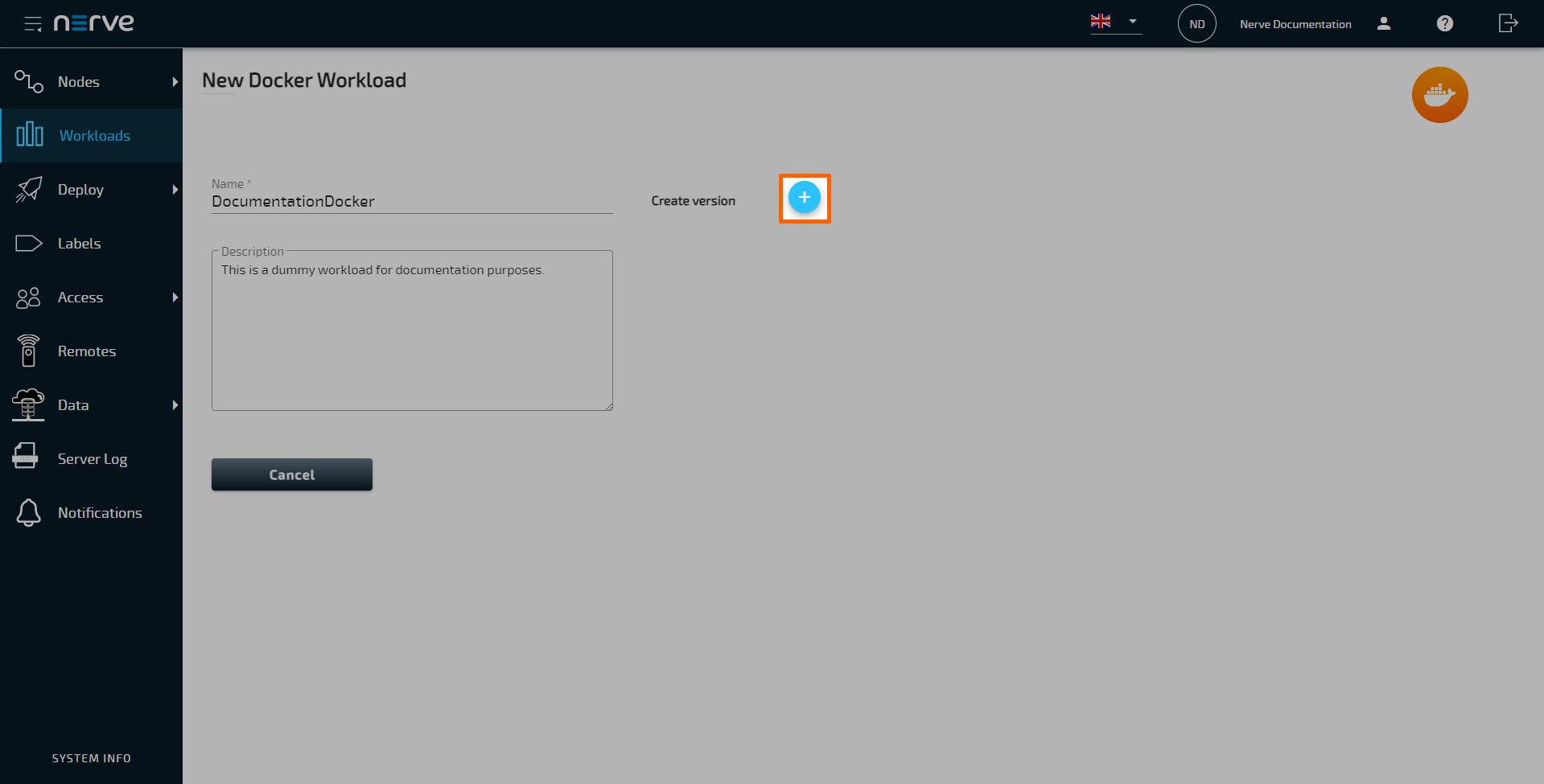 Provisioning a Docker workload   Nerve Blue 220.220.20 Documentation